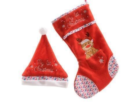 Decoris Baby kerstmuts en kerstsok My 1st Christmas