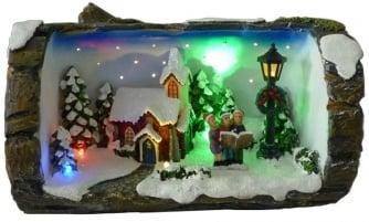 Dickensville DV Boomstronk kerstscene LED