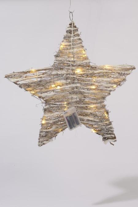 Lumineo LED ster rattan sneeuw
