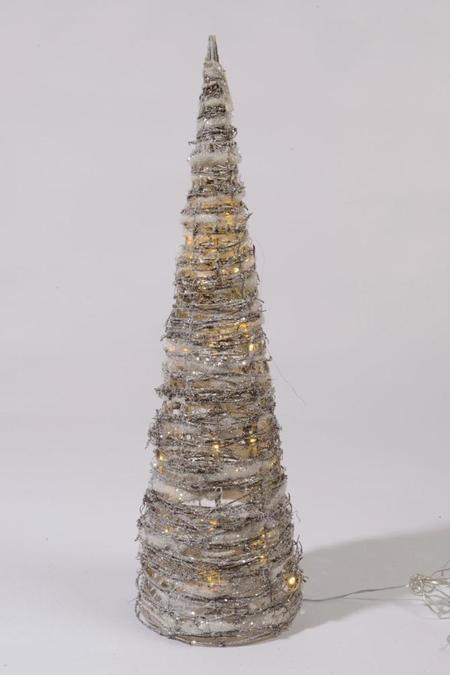 Lumineo LED piramide rattan sneeuw