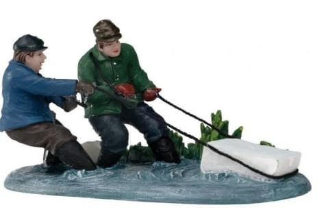 Dickensville Blok ijs uit het water halen