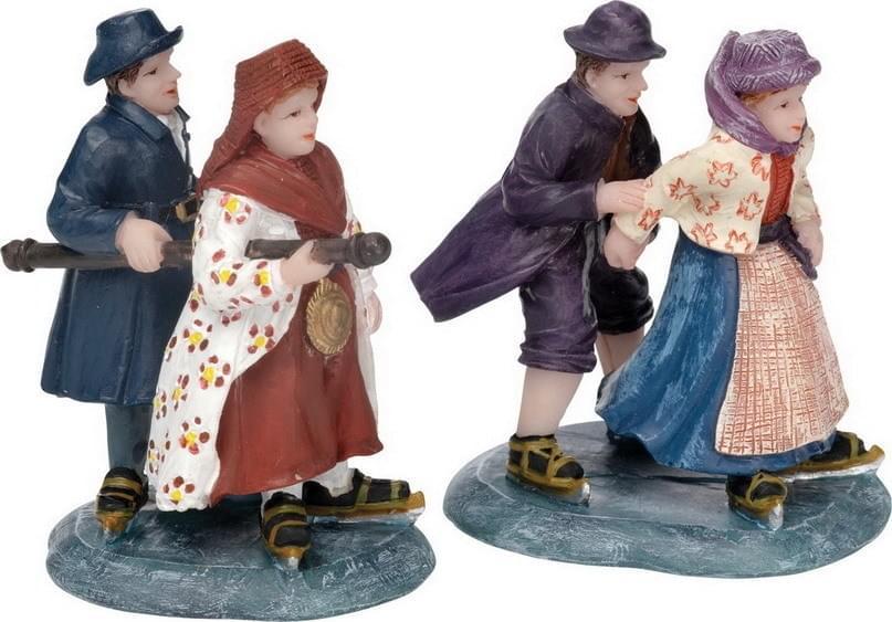 Dickensville Hindelooper schaatsers