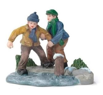 Dickensville Jongens proberen het ijs