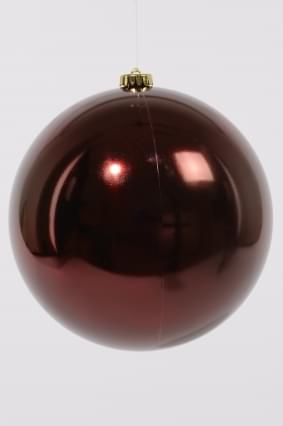 Decoris kerstbal plastic glans ossenbloed 2