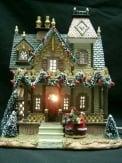 Dickensville Huis met kerstversiering