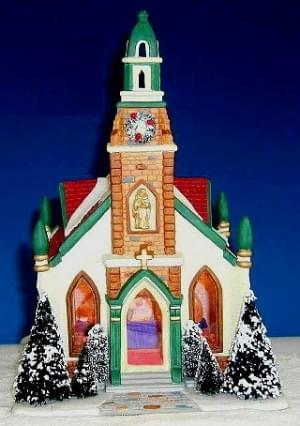 Dickensville DV kerk met inkijk