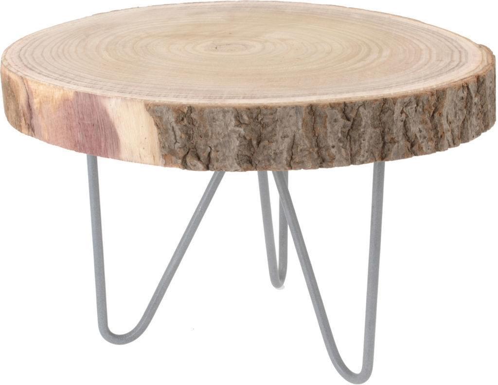 Home & Styling Boomschijf tafeltje met metalen poot