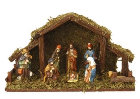 Home & Styling Kerststal met 8 Figuren