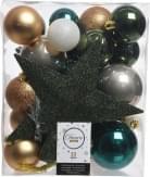Decoris Kerstbal Plastic Mix met Piek