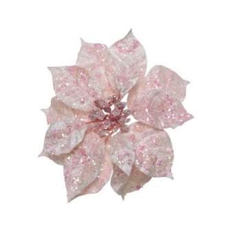 Decoris poinsettia pes glitter clip poeder roze 16x16x7cm