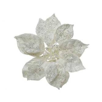 Decoris poinsettia pes glitter clip wit 16x16x7cm