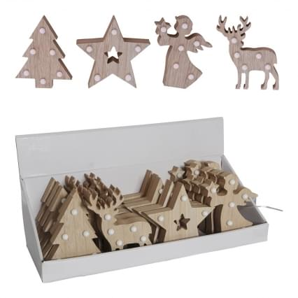Home & Styling Kerstfiguren Hout Led 4 ass