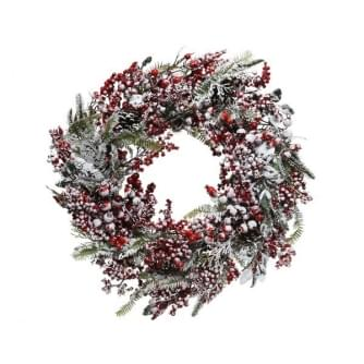 Everlands krans rode bessen frost 14x60x60cm groen-kleur(en)