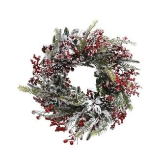 Everlands krans rode bessen frost 13x40x40cm groen-kleur(en)